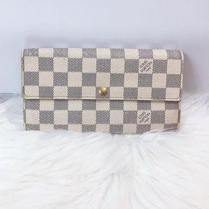 100% Auth Louis Vuitton Damier Azur Sarah Wallet